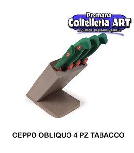 Sanelli - Ceppo cotlelli 4 pezzi Obliquo Tabacco