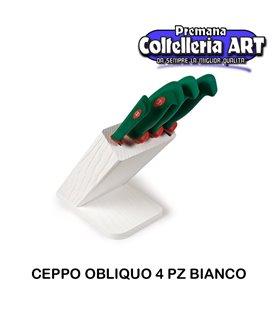 Sanelli - Ceppo cotlelli 4 pezzi Obliquo Bianco
