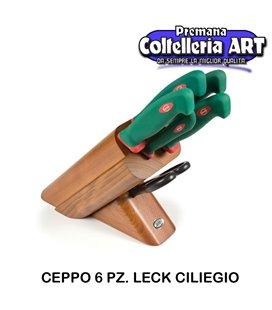 Sanelli - Ceppo coltelli 6 pezzi Leck ciliegio