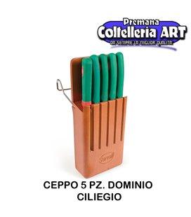 Sanelli - Ceppo coltelli 5 pezzi Dominio ciliegio