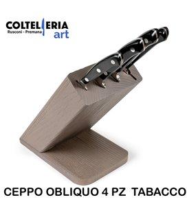 Sanelli - Ceppo coltelli 4 pezzi Obliquo Tabacco
