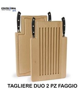 Sanelli - Tagliere duo Faggio 2 coltelli - Forgiati