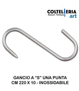 """SAP - Gancio a """"S"""" con una punta - mm 220 x 10 - Inox"""