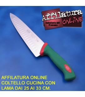 Affilatura coltello cuoco e simili con lama dai 25 ai 33 cm.