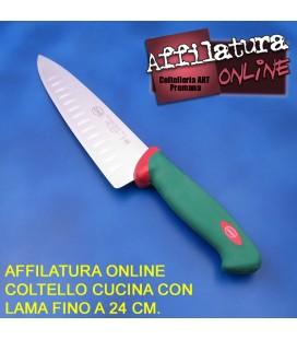 Affilatura coltello cuoco e simili con lama fino a 24 cm.