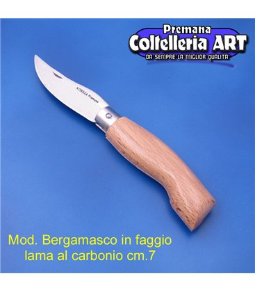 Codega - Coltello Bergamasco in Faggio cm 7 - Carbonio - No Block