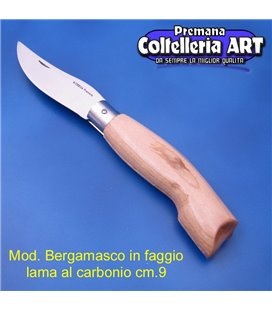 Codega - Coltello Bergamasco in Faggio cm 9 - Carbonio - No Block