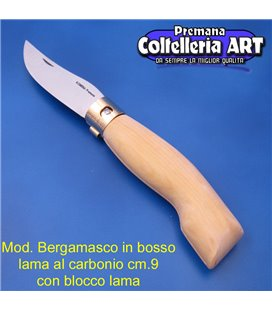 Codega - Coltello Bergamasco in Bosso cm 9 - Carbonio - Block